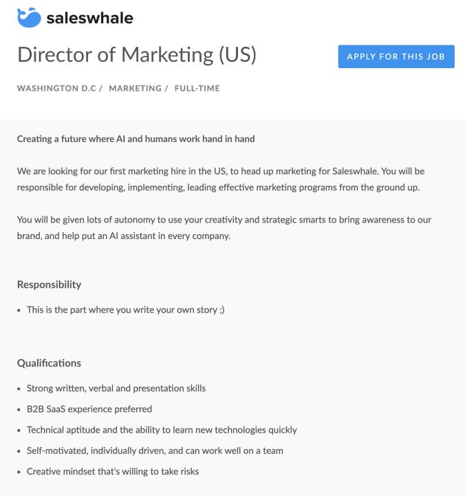 marketing director job ad