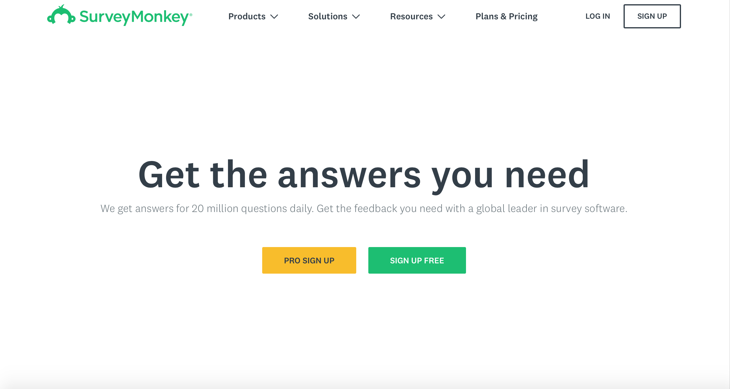 SurveyMonkey home page